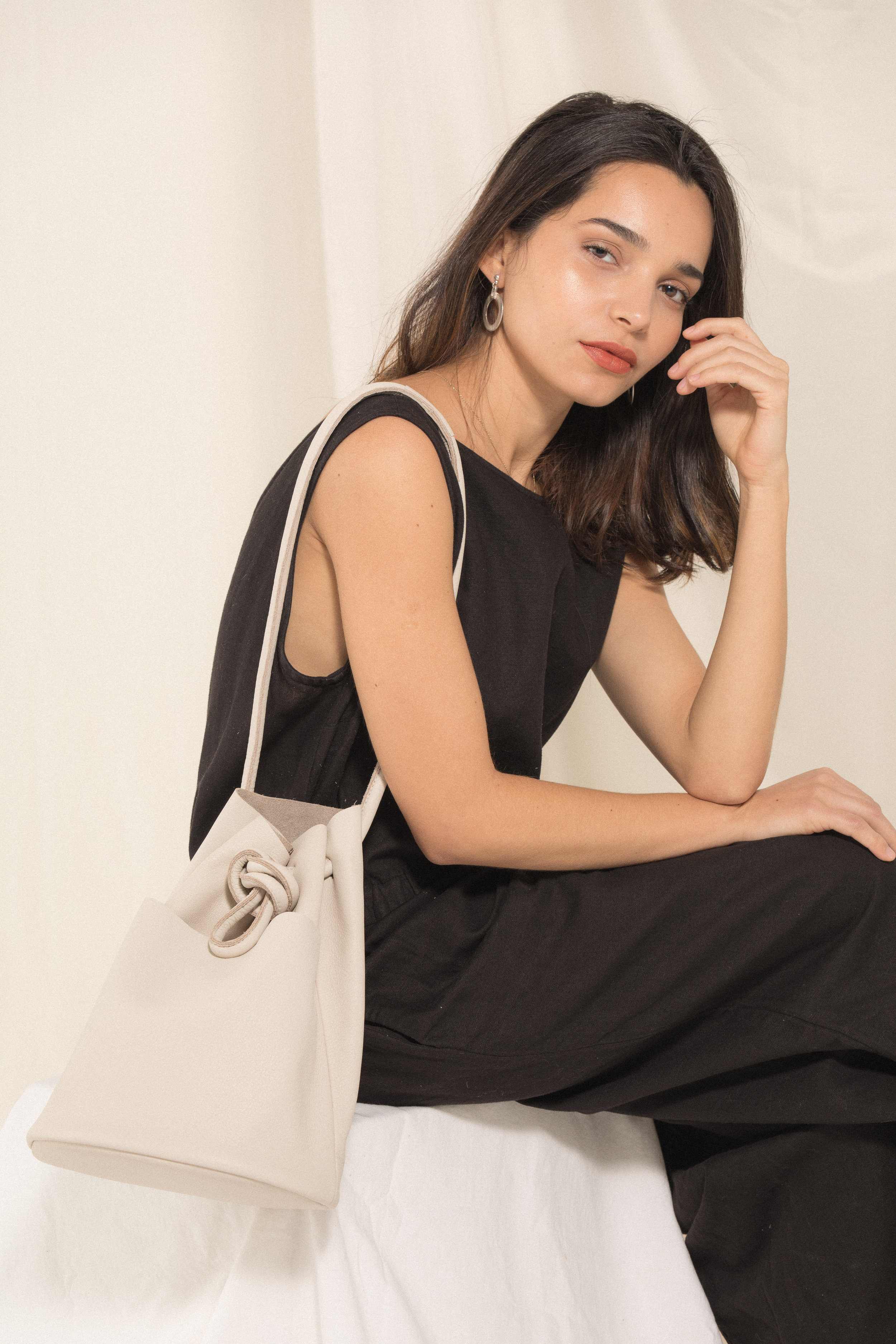 Tube Bag - Bone / Radiant Hoop Earrings / Alison Crop Jumper ^ Black