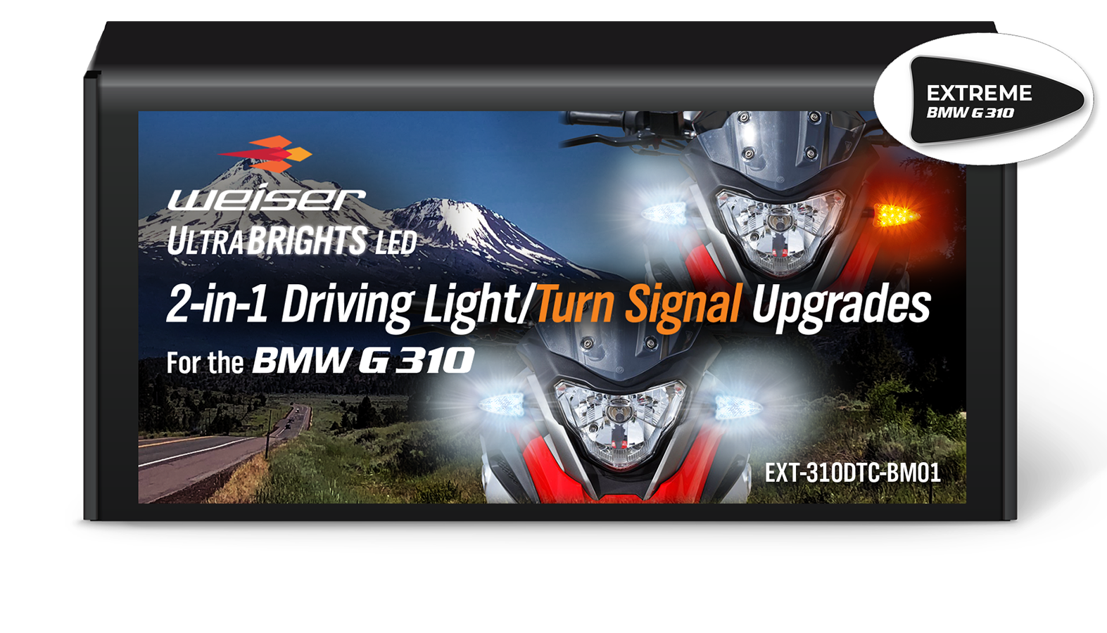 Extreme 2-in-1 LED WHITE Driving Light/AMBER Turn Signal Upgrades for the BMW G 310 (all variants) EXT-310DTC-BM01