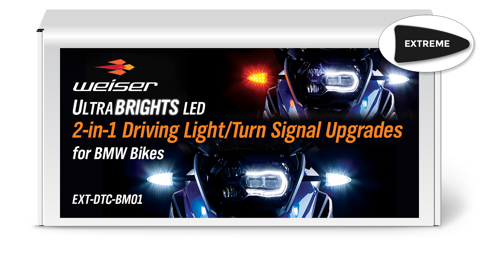 Extreme 2-in-1 LED WHITE Driving Light/AMBER Turn Signal Upgrades for BMW Motorcycles 2006-Present EXT-DTC-BM01