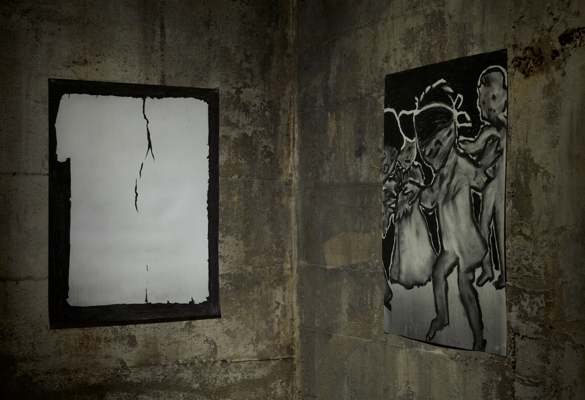 """The Daily Caucasian, Raleigh, North Carolina, Wednesday, February 27, 1895  (left) The Game  (right)  Charcoal on paper, 18""""x24"""", 2018  The Daily Avalanche, Tops Gallery, Memphis, TN, March 24-May 13, 2018"""
