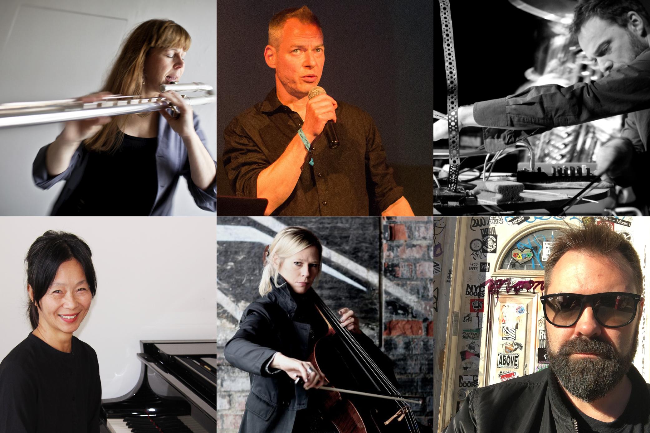 GAHLMM: Anna Svensdotter – flöjt, George Kentros – violin, Henrik Olsson – slagverk, Lisa Ullén – piano (©Helena Byström), My Hellgren – cello, Mattias Petersson – buchla och el. Källa:  RANK