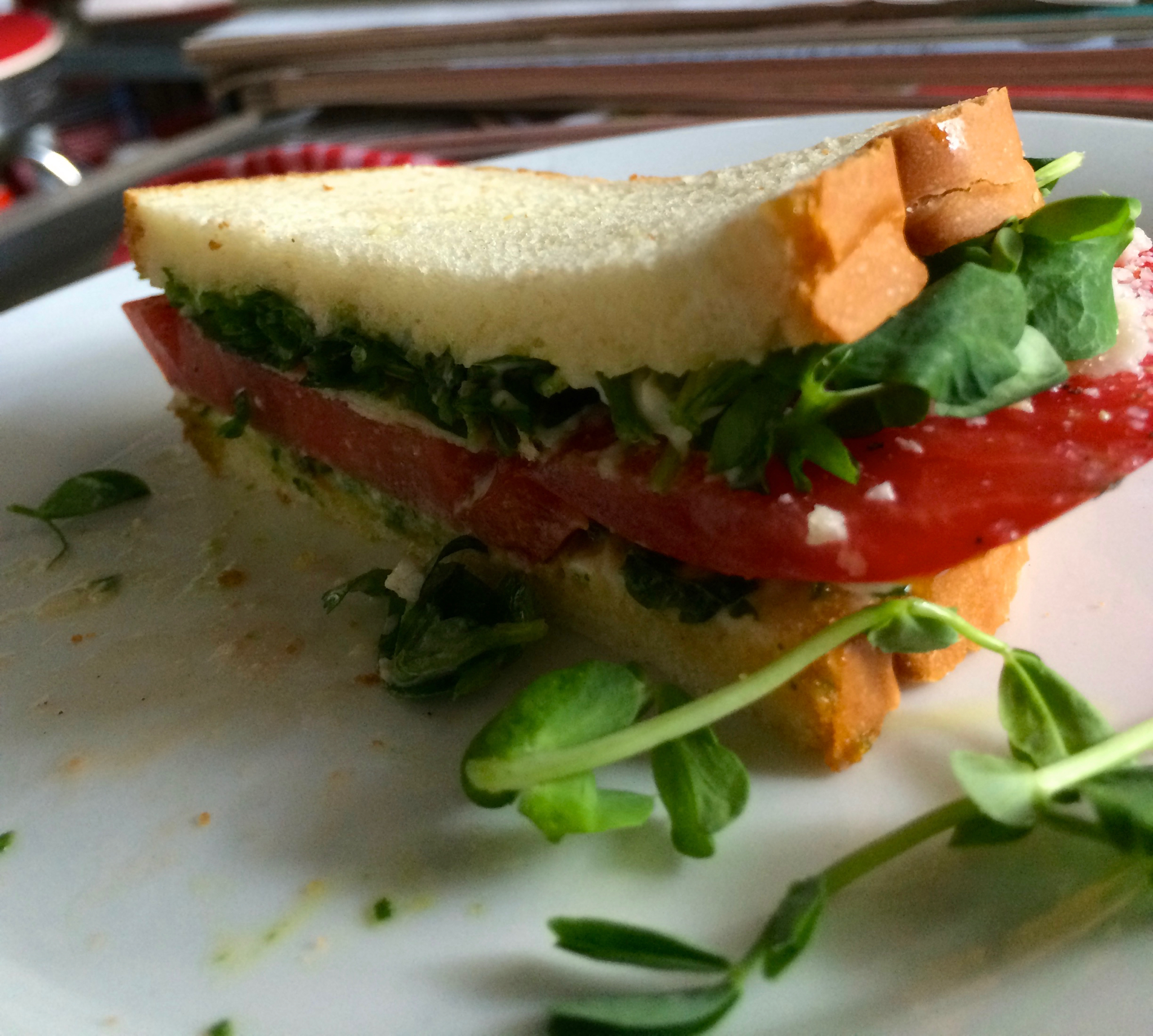 Bacon-less BLT with tomato and pea shoots. Light and refreshing and perfect for our resident vegetarian, Denaya!