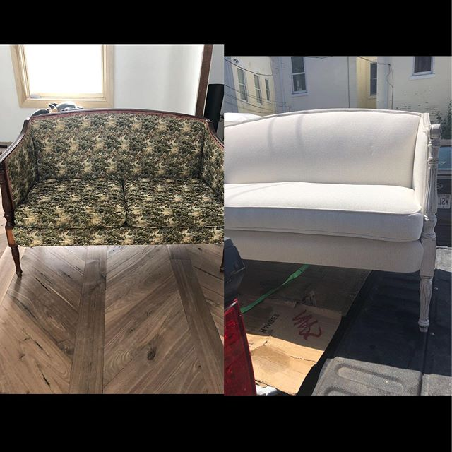 The unveiling of Charlenes new couch. The before and after shots. This all white linen  couch with hand-painted white washed legs can be used for weddings and other Experience parties. We can't wait to use it on our next experience party. This couch and other furniture can be rented from Charlenes Vault. • • • #charleneskitchen #charlenesvault #oldtownalexandria #alexandriava #caterer #rentals #furniture #couch #texture #whitewashed  #weddings #party