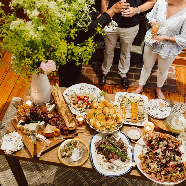 Love this overhead shot of the Table at Holly's Party. The mixture of textures, foods, and flowers make this a beautiful sight. • • • #charleneskitchen #charlenesvault #oldtownalexandria #alexandriava #caterer #catering #design #texture #floral #setup #buffet #bonappetit