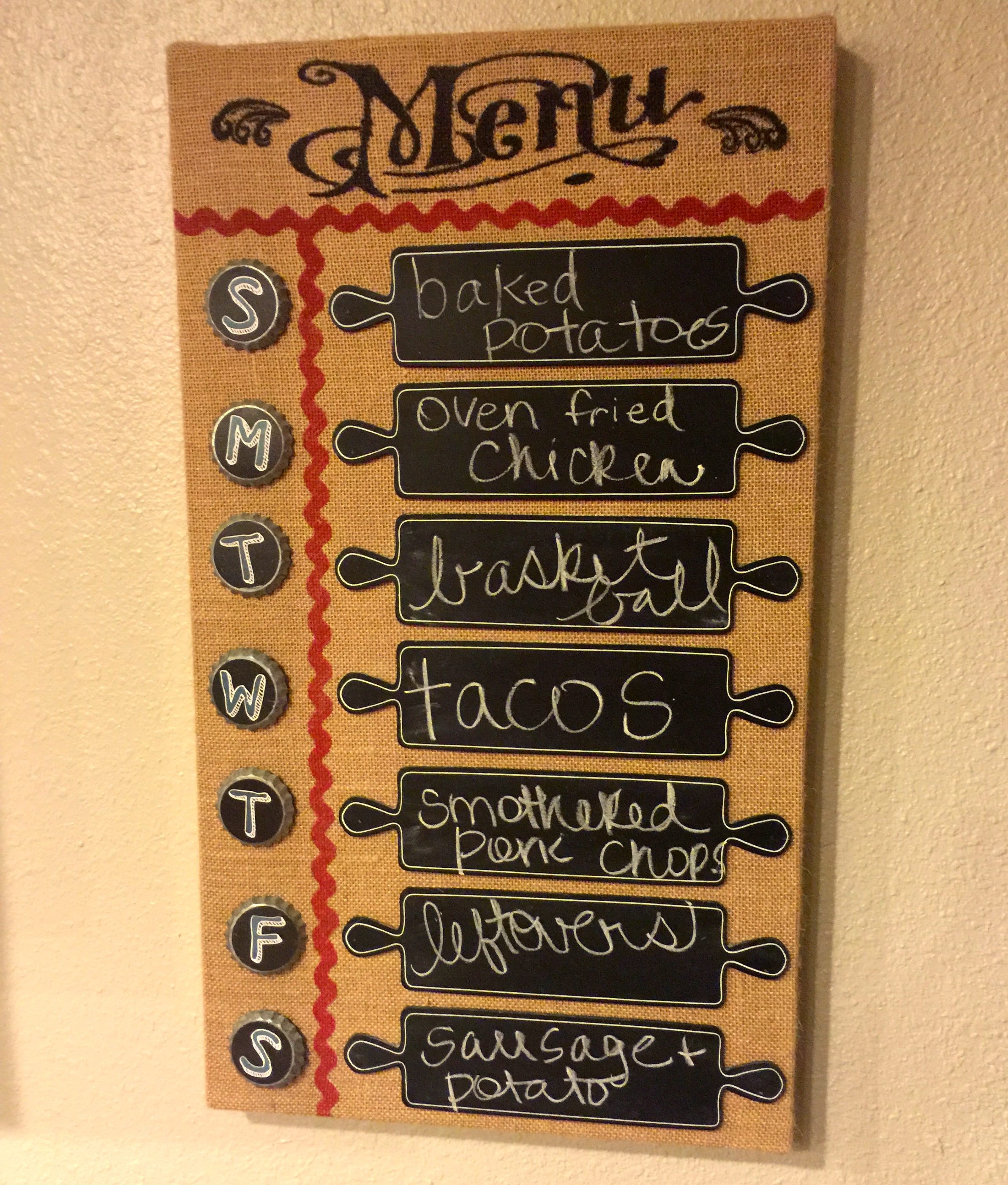 our menu board hangs in our kitchen to help keep me on track.