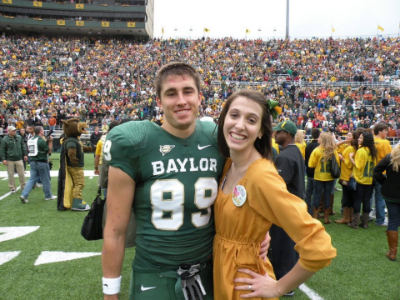 Technically this is not a picture from Green & Gold game...this is Coach Husband's Senior Day on the field but probably my favorite photo of the two of us from his time as a college football player.