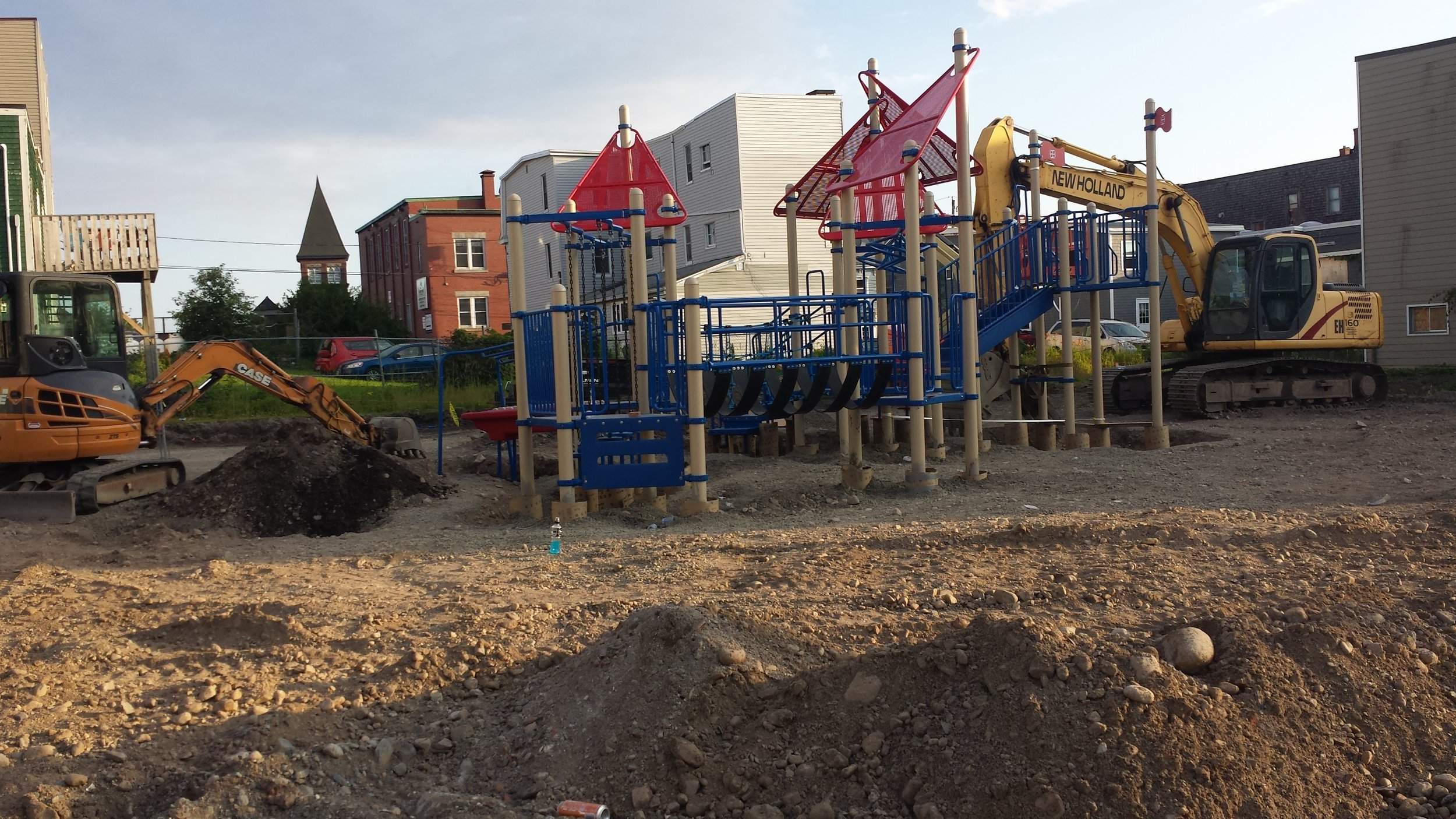 The playpark on July 18, 2017. You can see the steeple of the RiverCross Mission in the background.