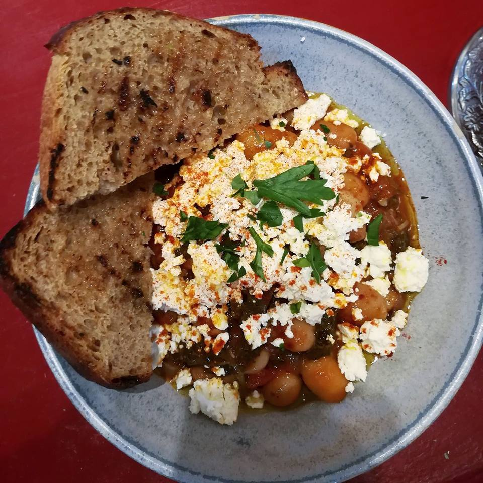 Gigantes - traditional Greek butter bean stew with feta and bread.