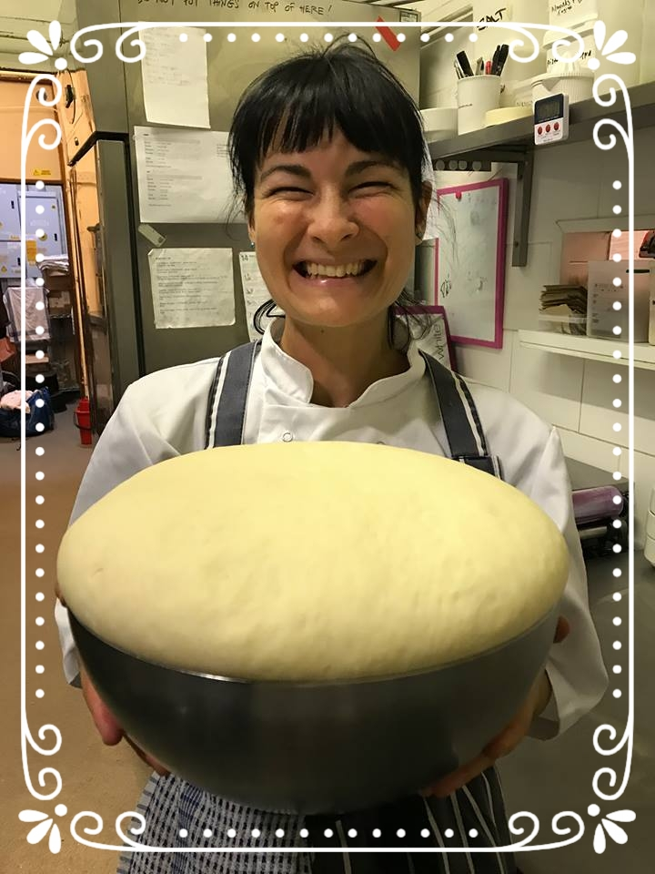 Here is Alex with a beautiful, puffy dough she made.