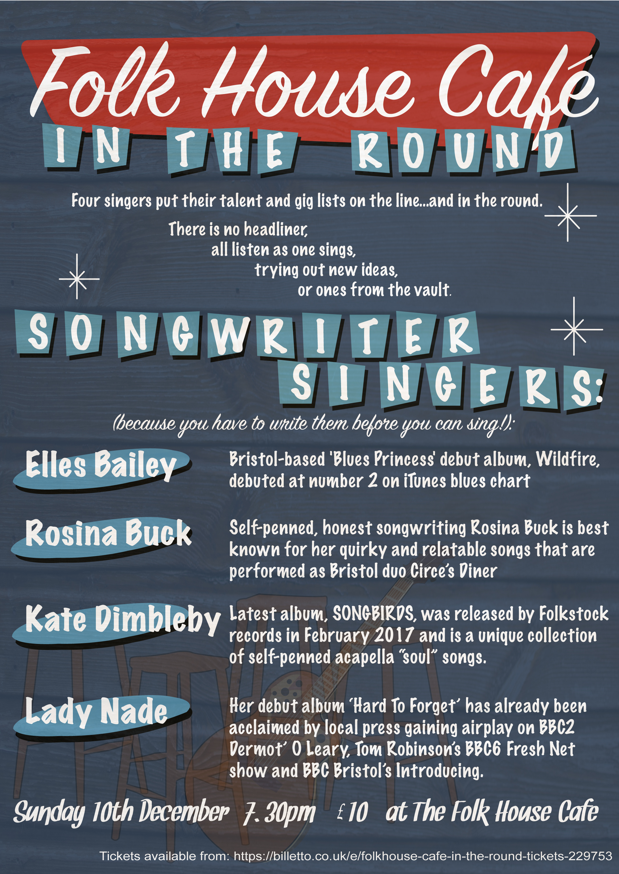 Nashville native, Russell Walker, introduces his home town style of in the round performance by gathering some of Bristol's best talent to showcase their new songs, and some old favourites too.
