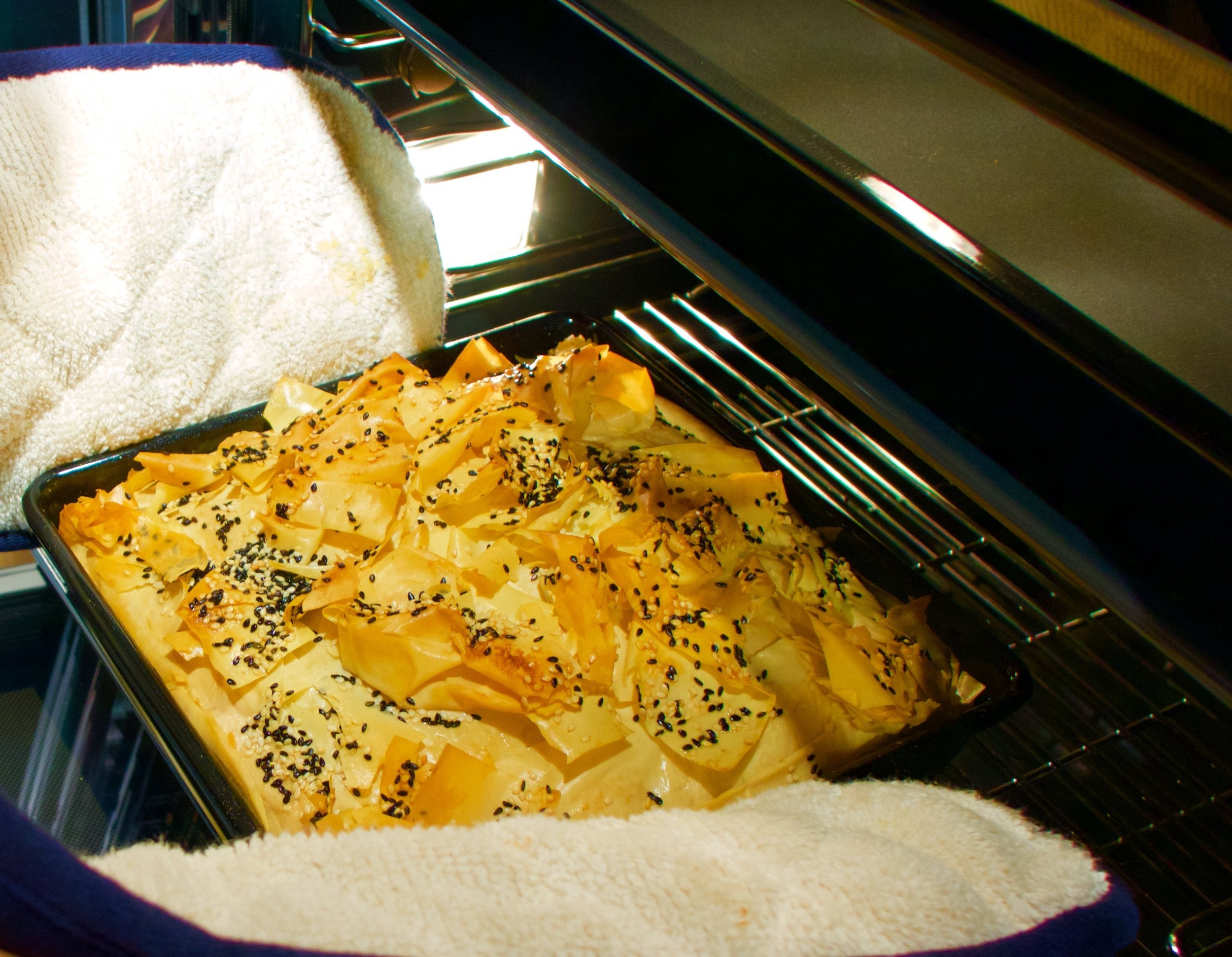 Greek filo goats cheese and spinach tart
