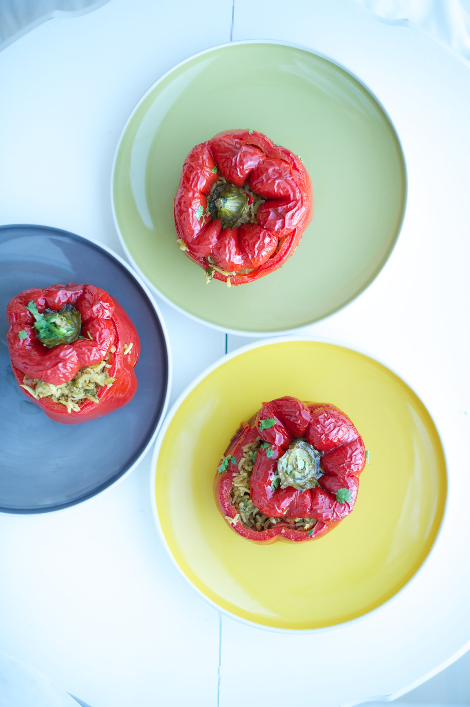 SEVENTIES-STYLE RED PEPPERS STUFFED WITH SPICY RICE