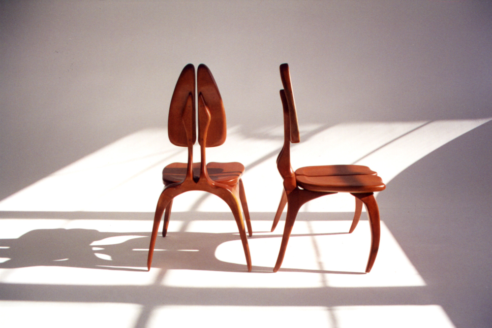 Influenced by the study of Surrealist architecture of the 1930's, and the work of Carlo Mollino and Gio Ponti, the chair prototype is an anthropomorphic study. Looking at the body, specifically the spine, the chair is an extension of the body both in function and figuration.