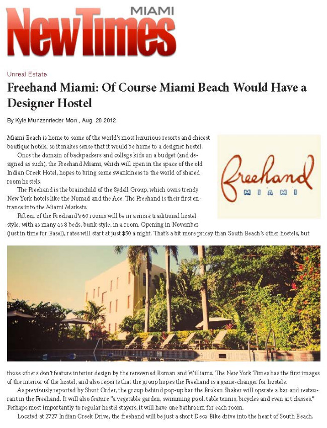 MIAMI NEW TIMES, AUGUST 2012