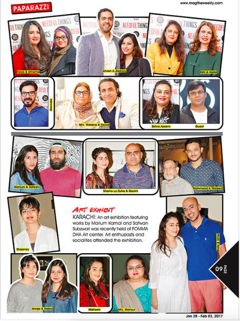 - Art exhibitKARACHI: An art exhibition featuring works by Marium Kamal and Safwan Subzwari was recently held at FOMMA DHA Art center. Art enthusiasts and socialites attended the exhibition@Magtheweekly