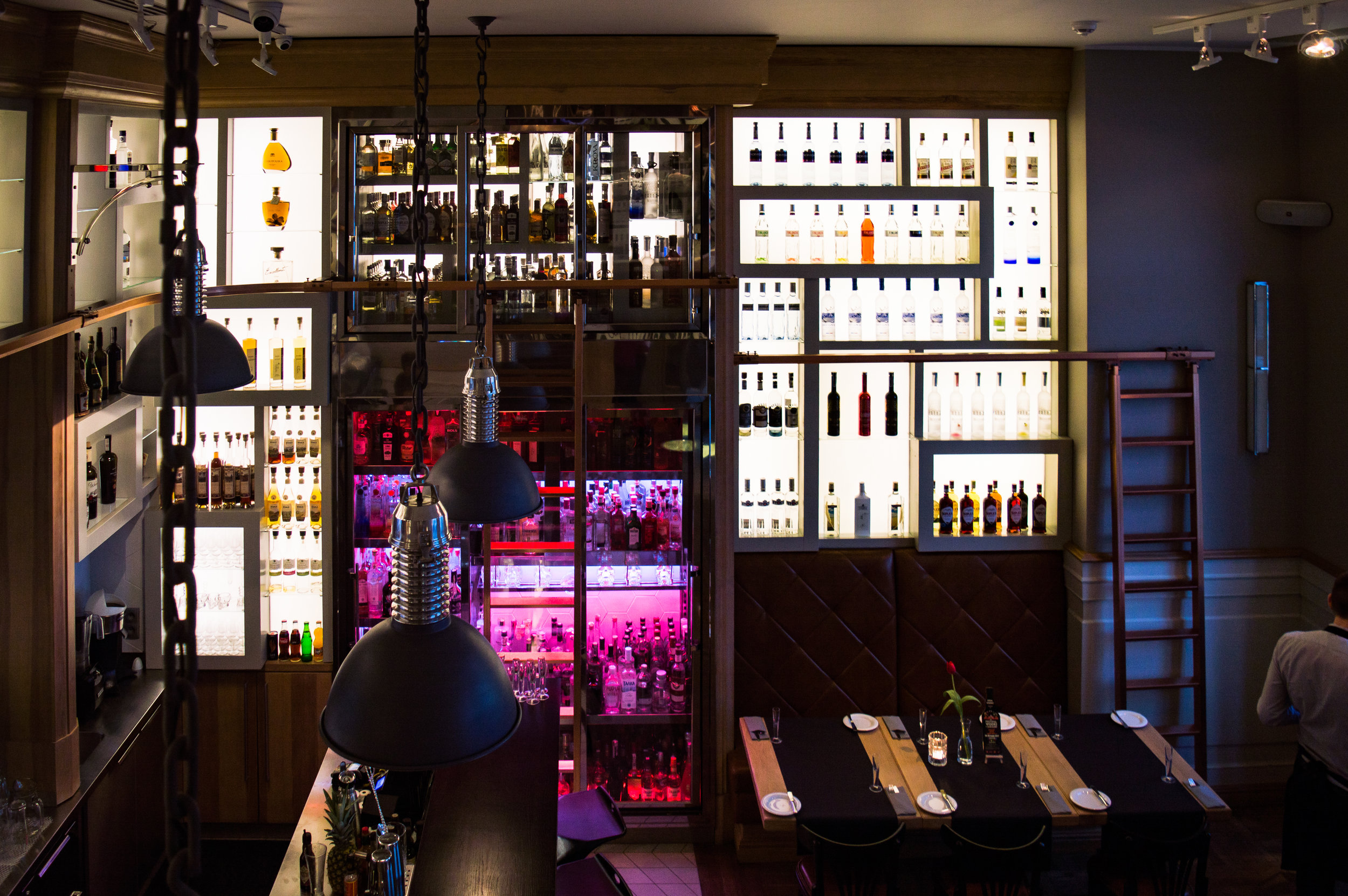 Elixir- the bar displaying over 500 types of vodka.