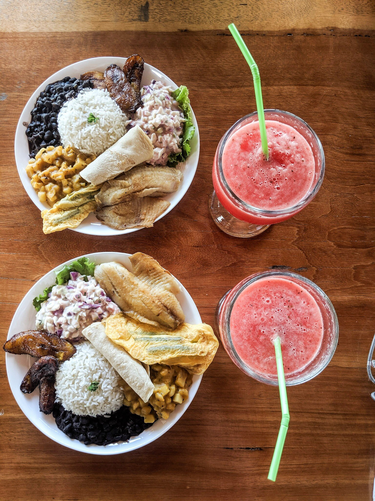 Casado is a Costa Rican dish with osta Rican meal using rice, black beans, plantains, salad, a tortilla, and either chicken, beef, pork, fish.