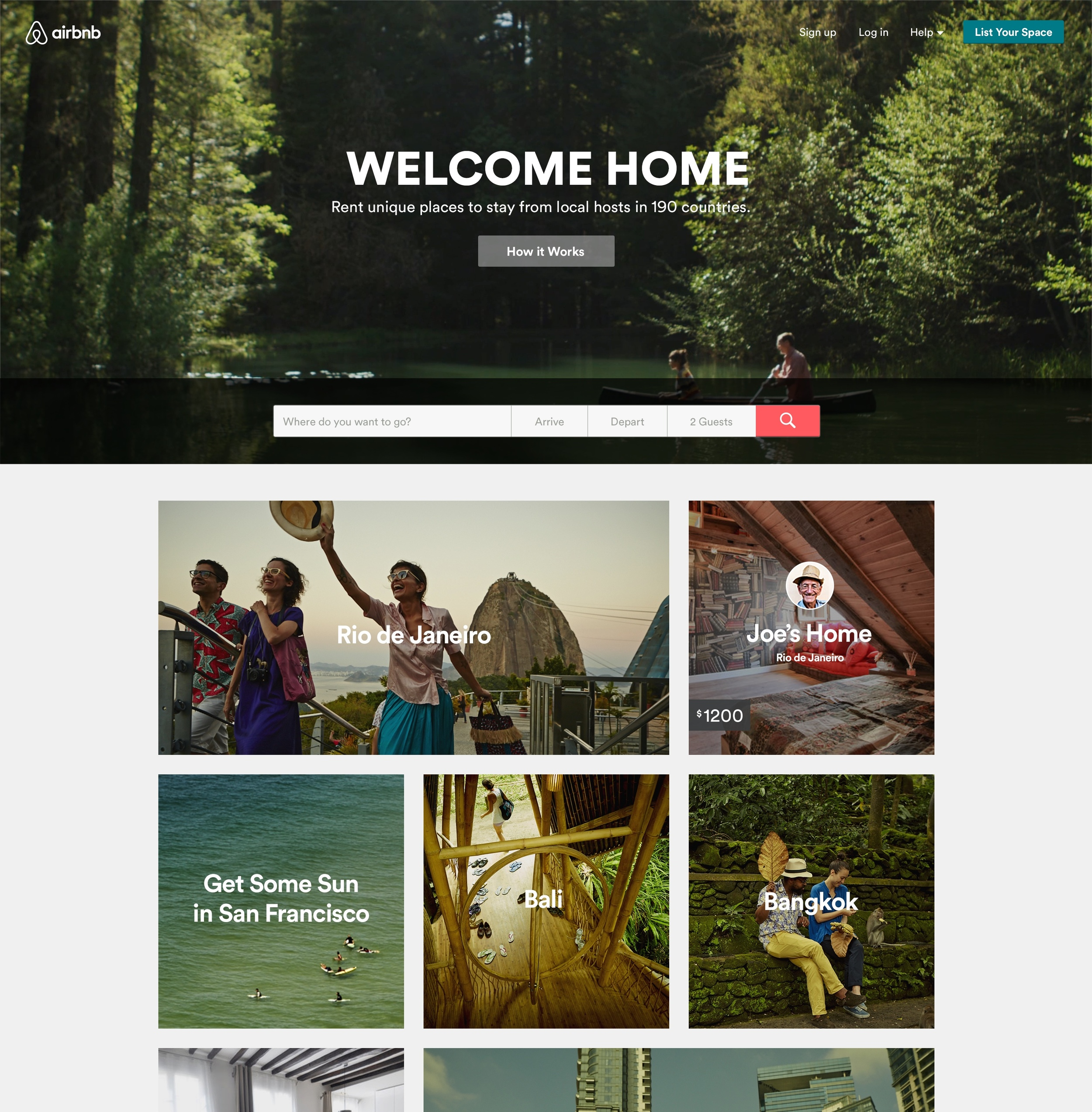 Airbnb Home page © airbnb