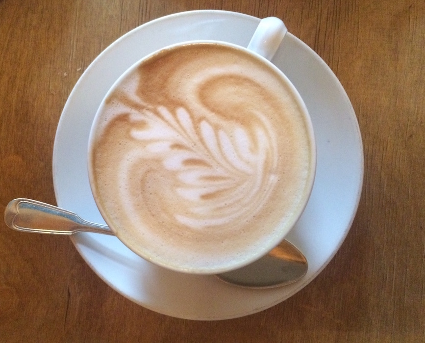 A freshly delivered flat white from aunt benny cafe in friedrichshain © melinda barlow