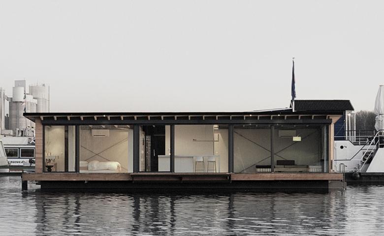 Modern Boat moored at Berlin's Rummelsberg Lake