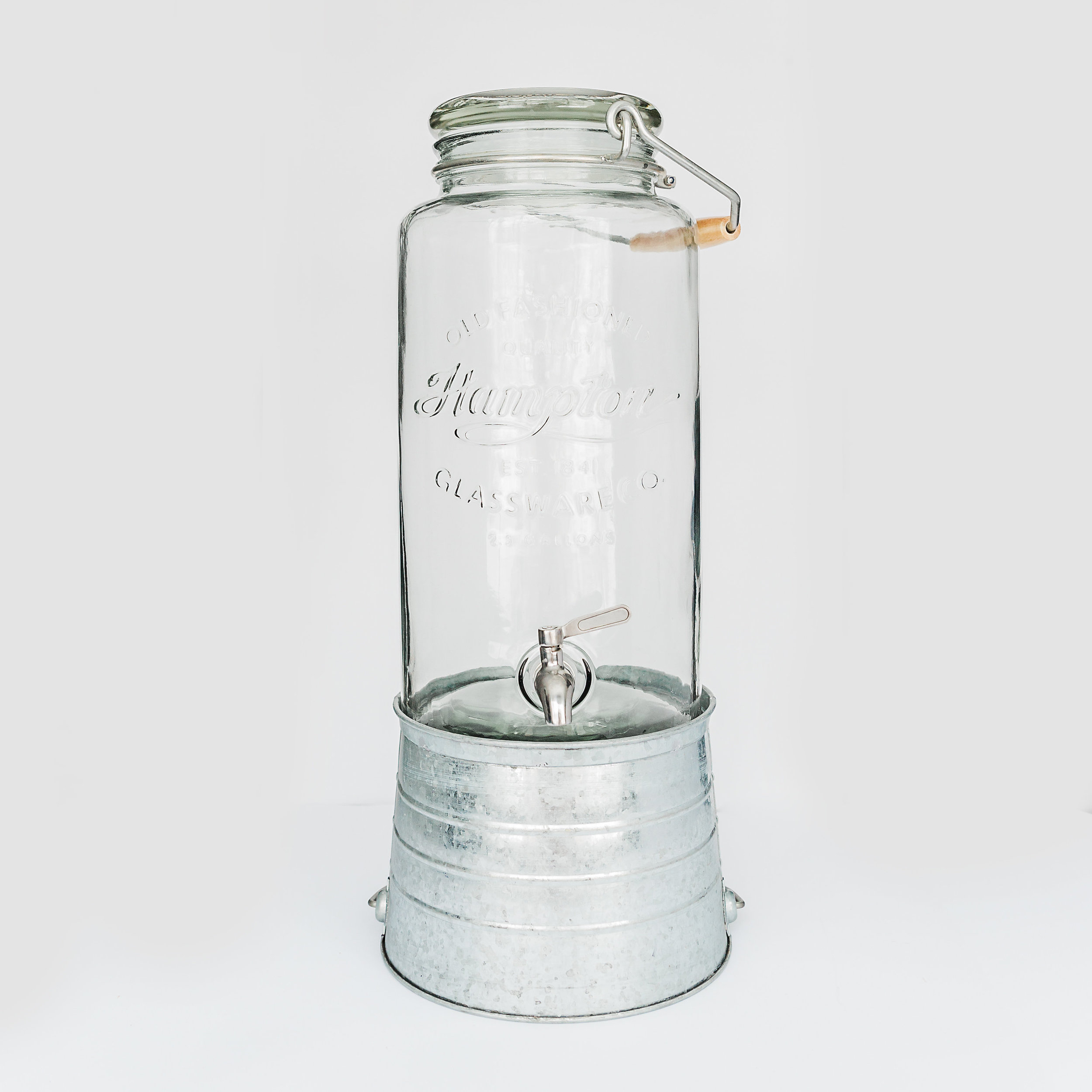 2.5 Gallon Glass Beverage Dispenser  dimensions: 9.5 inches x23 inches. metal bucket is removable. >>>$8.00<<<