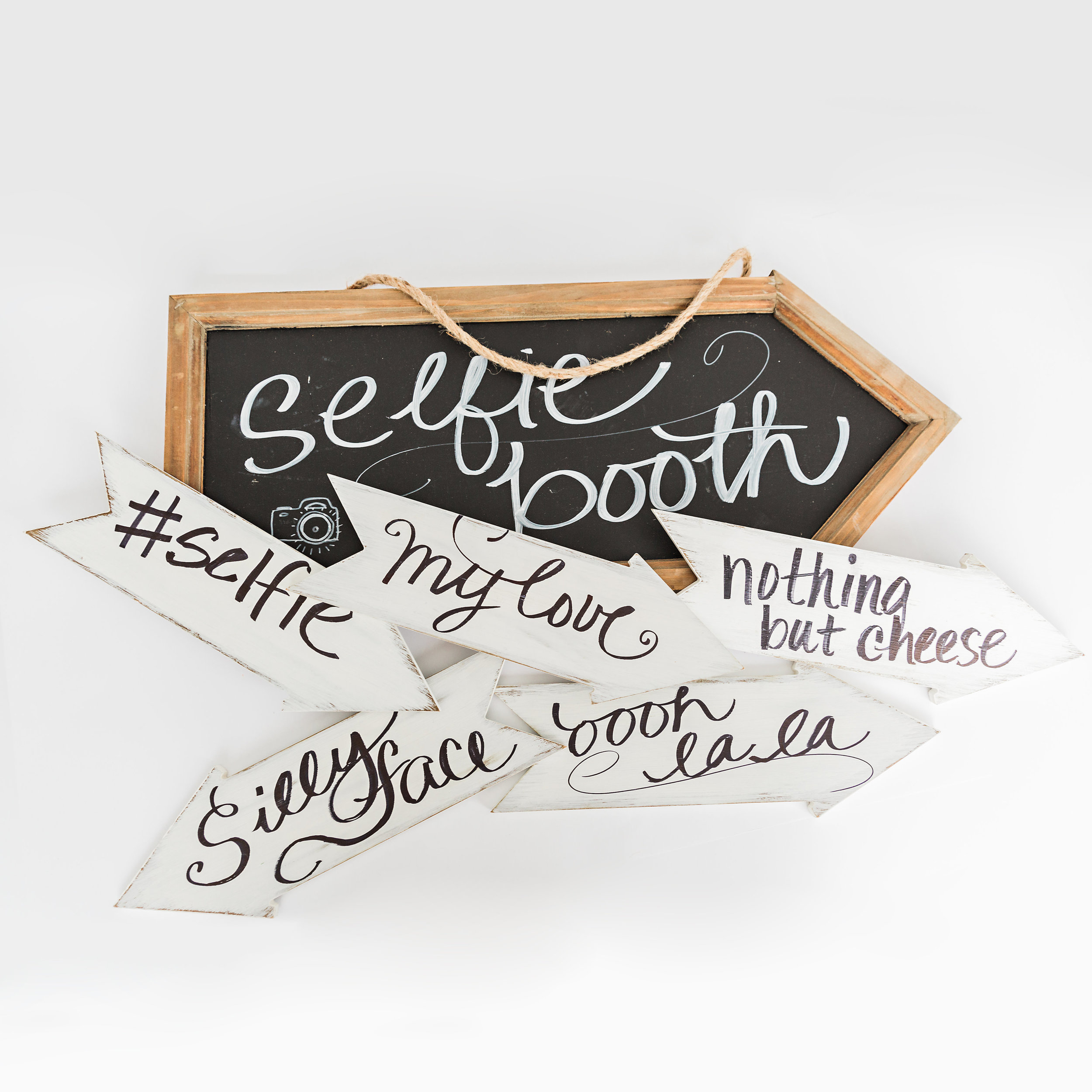 Selfie Booth Set.  phrases on both sides of white arrows. >>>$10.00 set<<<