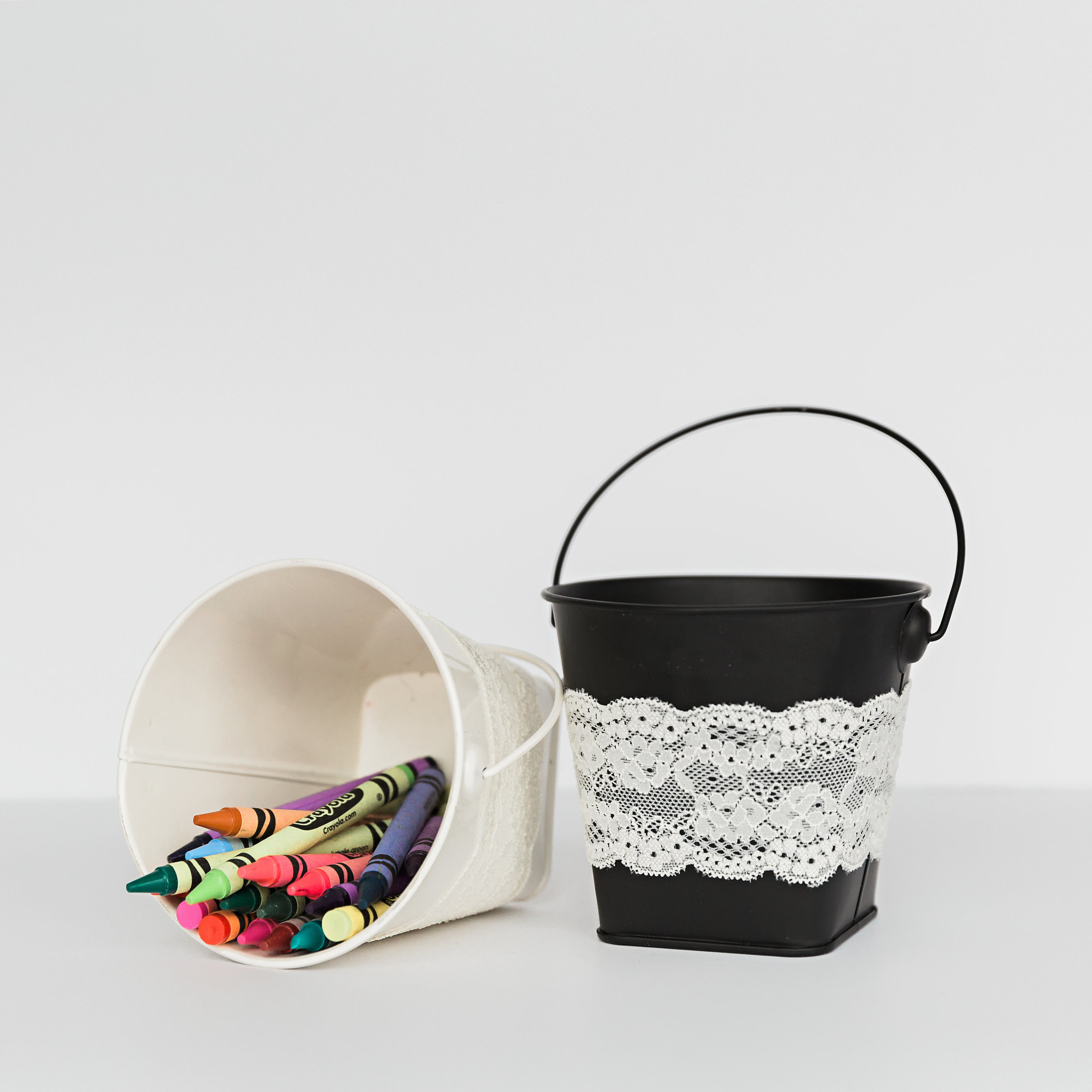 Small Metal buckets with Handle, White & Black  dimensions: 4 inches x4.5 inches >>>$0.50 each<<<