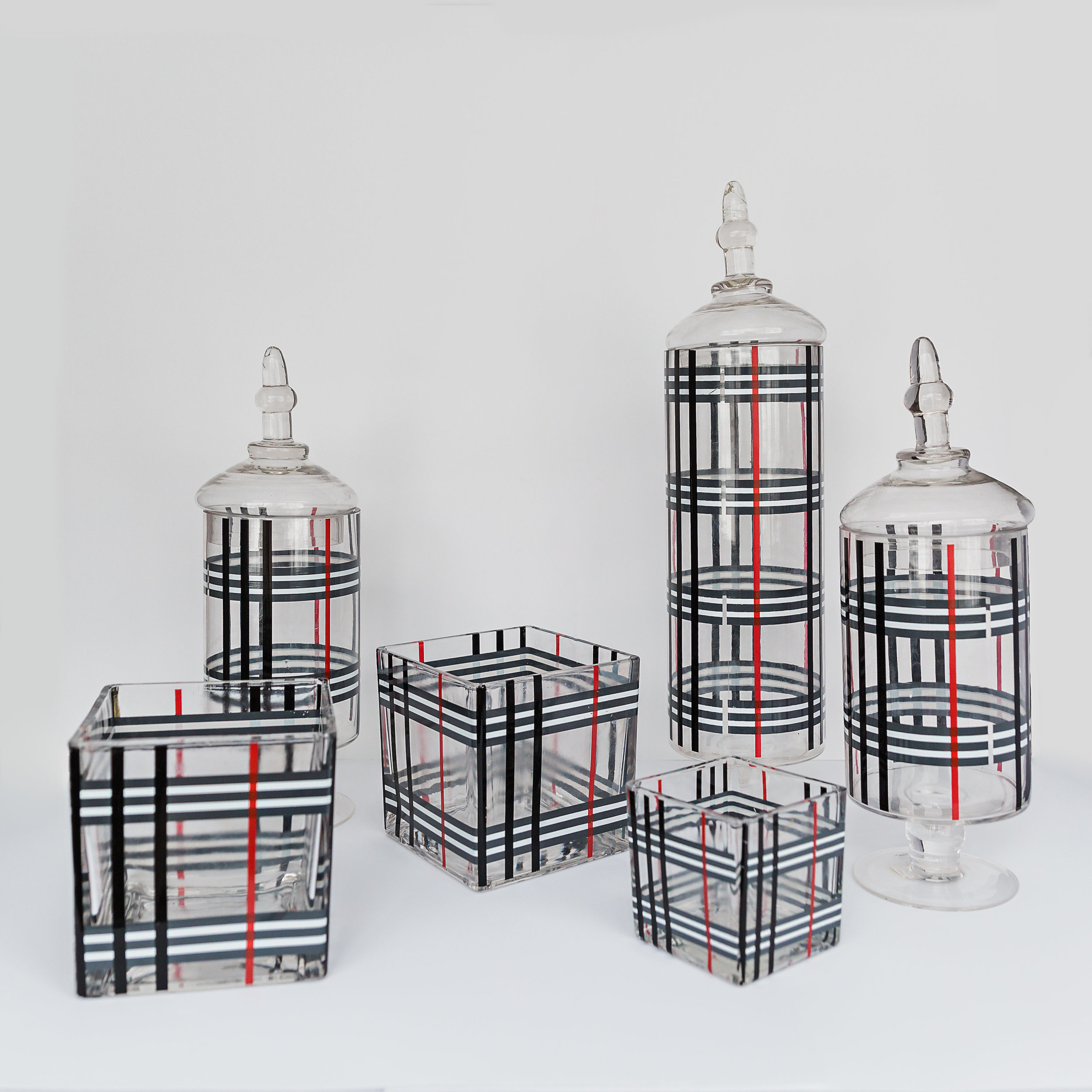 "The Plaid Collection  apothecary jars: 14'' to 20.5"", block vases: 3.5"" to 6"" >>>$18.00 set<<<"