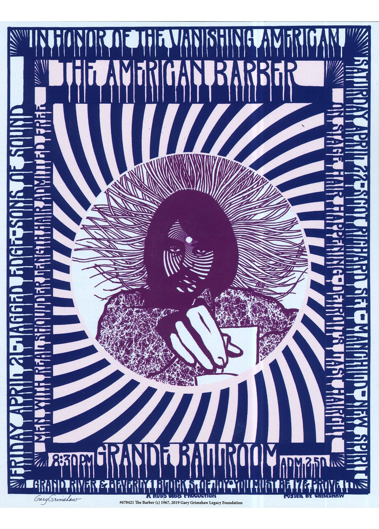 Gary Grimshaw (1946-2014) was a graphic artist active in Detroit and San Francisco who specialized in designing rock concert posters for bands like MC5, The Yardbirds and Cream.  Many of Gary's best-known works were produced for the iconic Detroit concert venue  Grande Ballroom , such as the 'John Sinclair Freedom Rally'. In the late 1970's he worked the the legendary rock magazine  Creem  as associate art director. He is known for his innovative psychedelic lettering techniques.