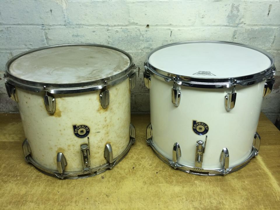 """Beverley White Duroplast 14x12"""" Snares. Before and after"""