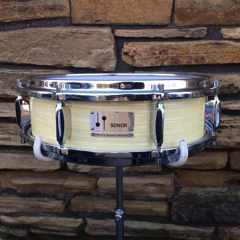 """1965 Sonor D421, 14x4.5"""" White Marble 3-ply beech Snare"""