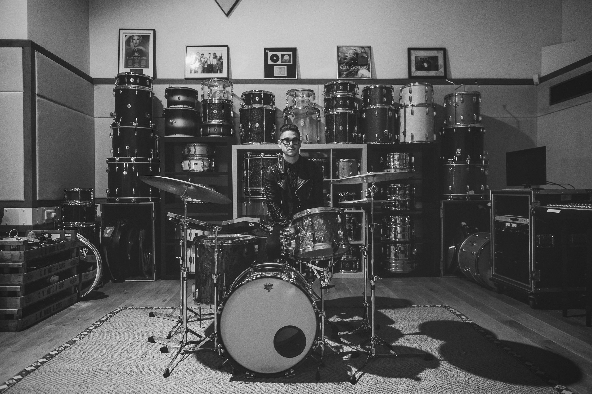 Joe Clegg (drummer and MD for Ellie Goulding) at his gaff sitting behind and in front of many lovely tubs I worked on in 2016. Photo by Ed Peers.