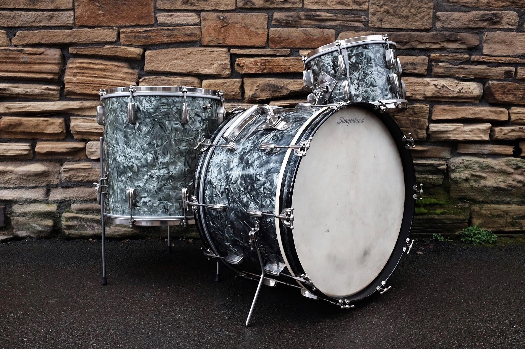 "Circa 1955 Slingerland 'Gene Krupa Deluxe' Radio King, sized 22"", 13"", 16"" in original black diamond pearl. Restored and sold in January/February 2017."