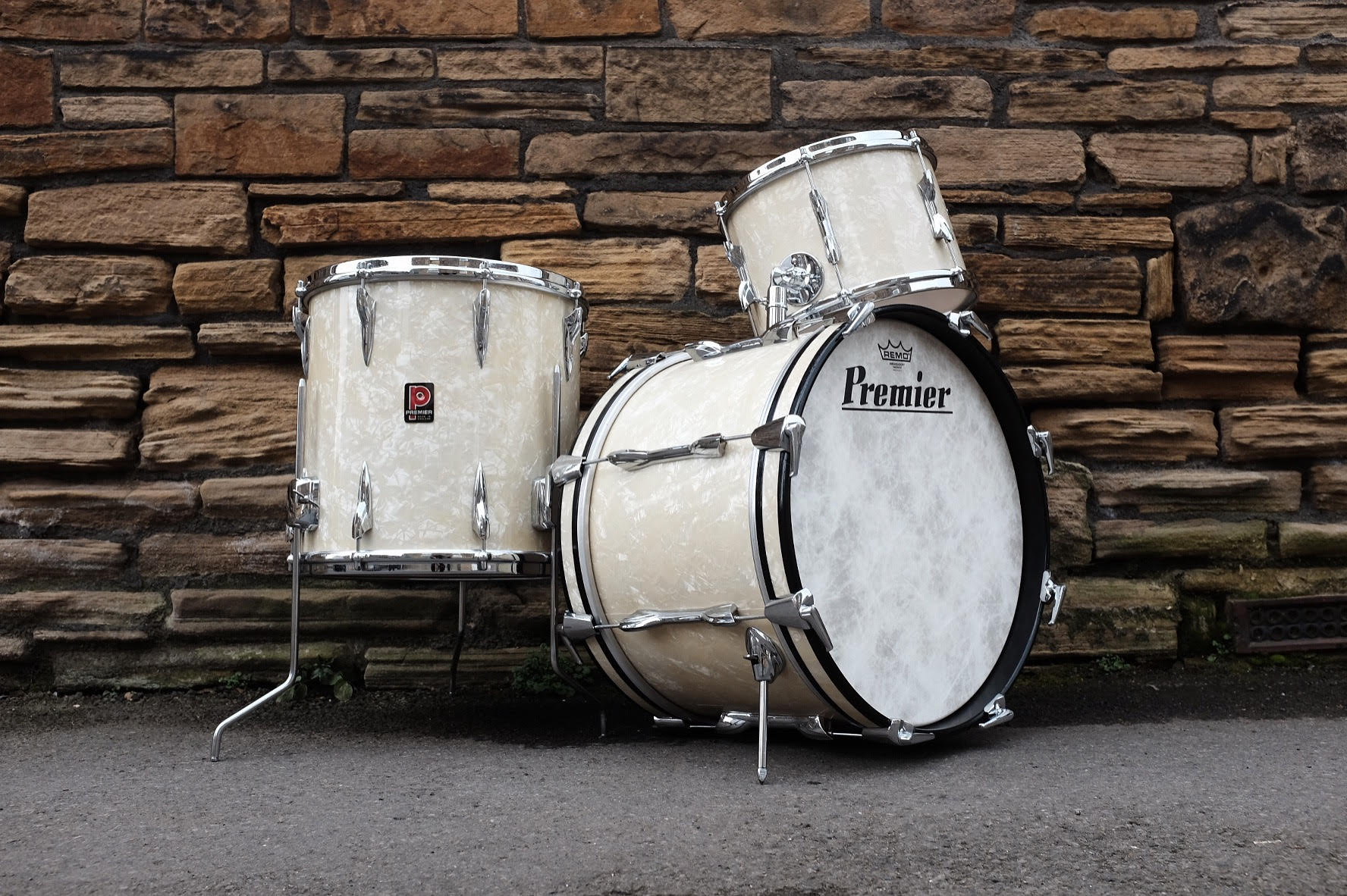 """1960's Premier 18"""", 12"""", 14"""" Bop in White Marine Pearl. Restored and sold in February 2017."""