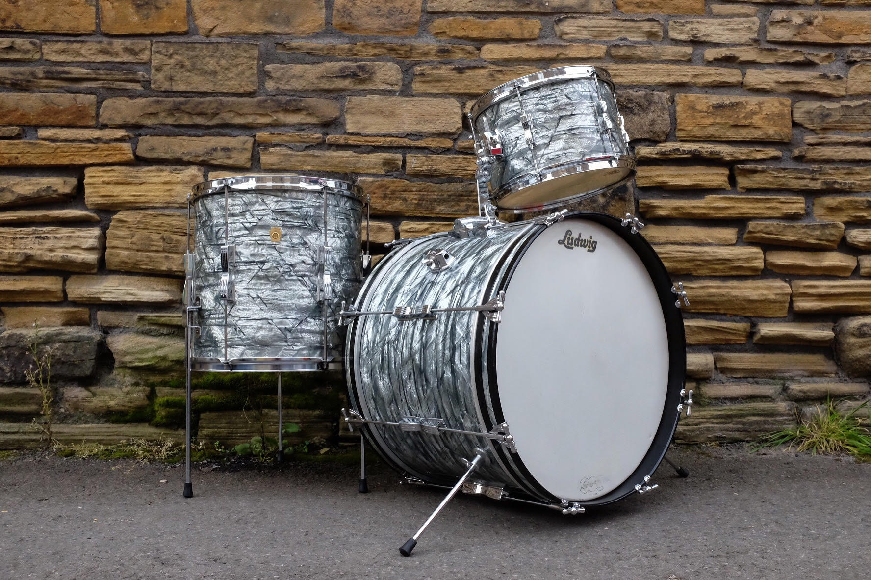 """1966 Ludwig 'Club Date' in Sky Blue Pearl sized 20"""", 12"""" & 14"""". Restored and sold in September 2017."""