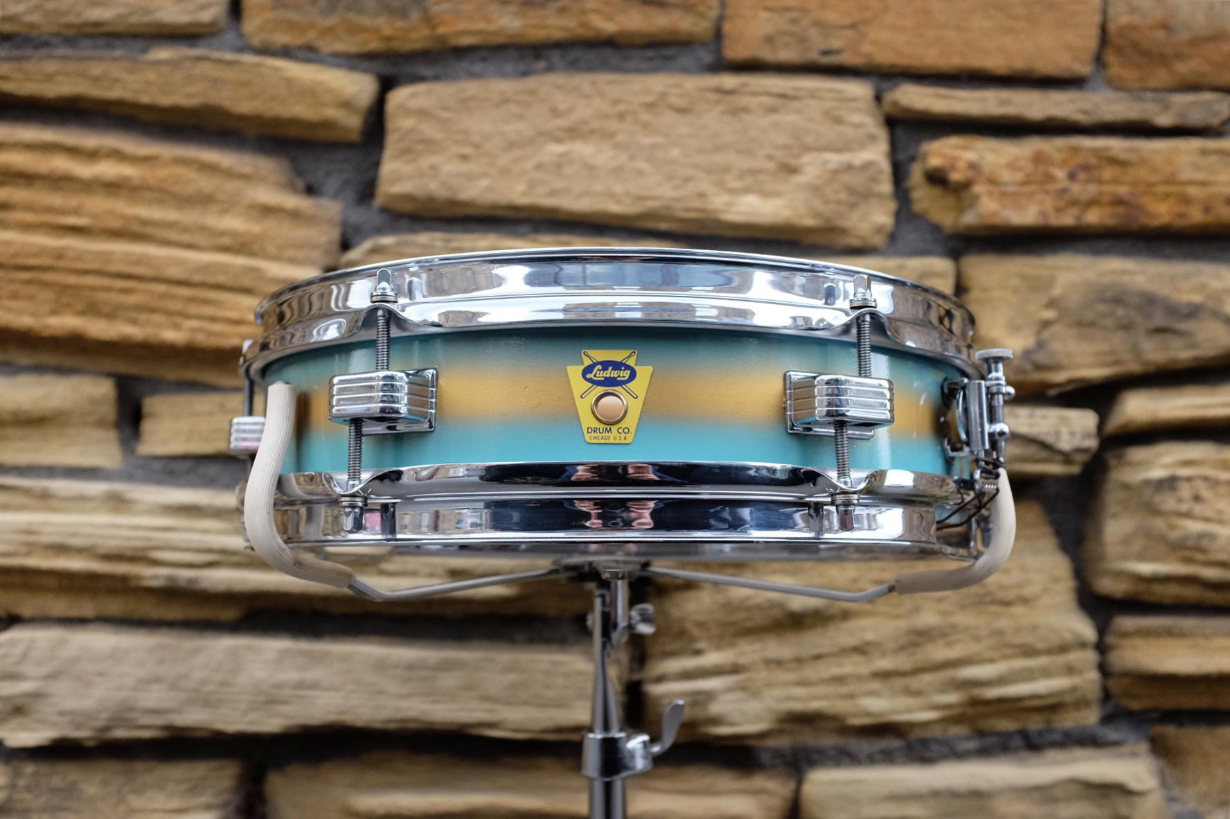 """Mar 16 1959 Ludwig 'Jazz Combo' 13x3"""" in Turquoise and Gold Duco. Restored and sold in October 2017."""