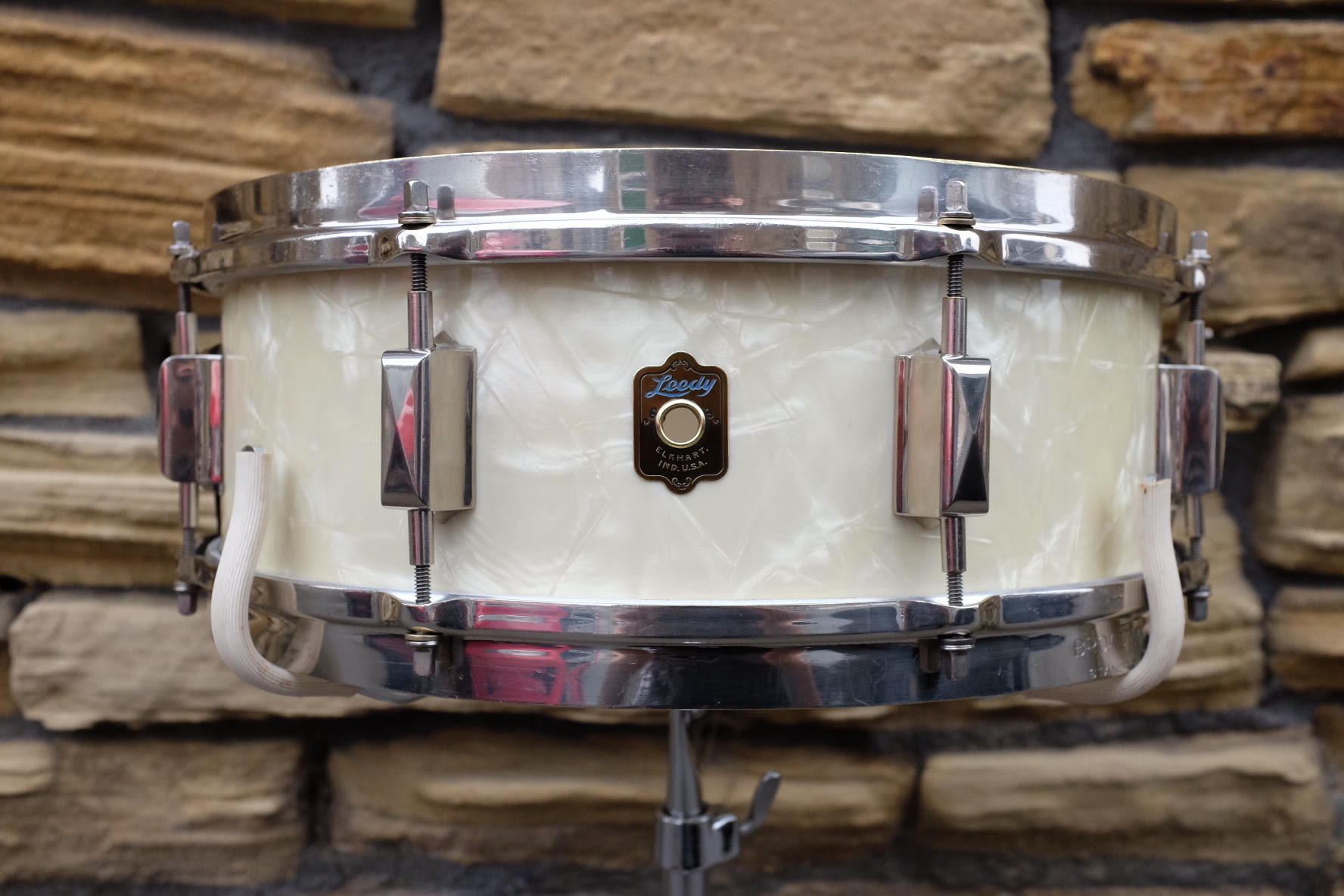 """Aug 1937 Leedy 'Broadway Standard' 14x5"""" Solid Mahogany in White Marine Pearl. Restored in October 2017."""