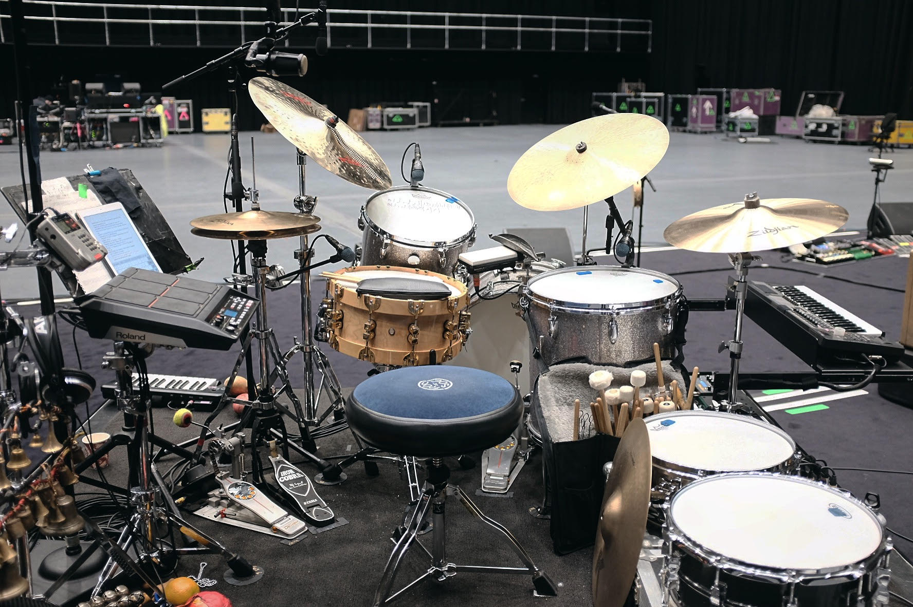 Radiohead rehearsals 2017, Clive Deamer kit.