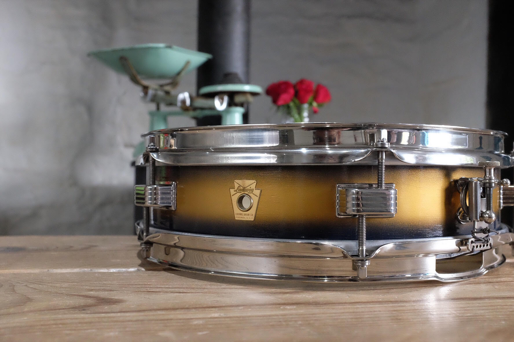 """1962 Ludwig 'Jazz Combo' 13x3"""" in original Blue and Gold Duco. Restored in Summer 2018."""