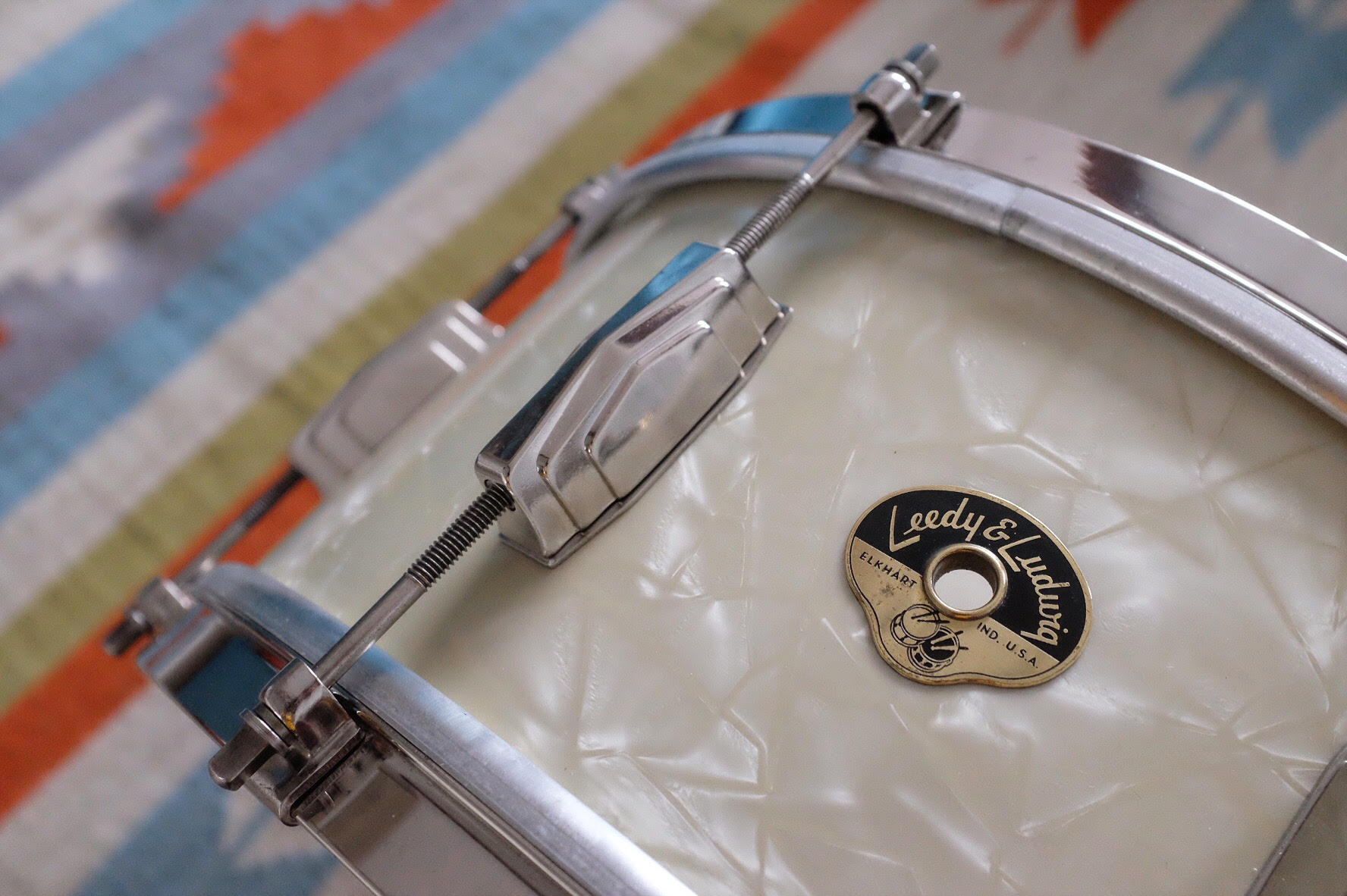 """1954 Leedy & Ludwig 'The Reliance' 14x6.5"""" in original White Marine Pearl. Restored in Spring 2018."""