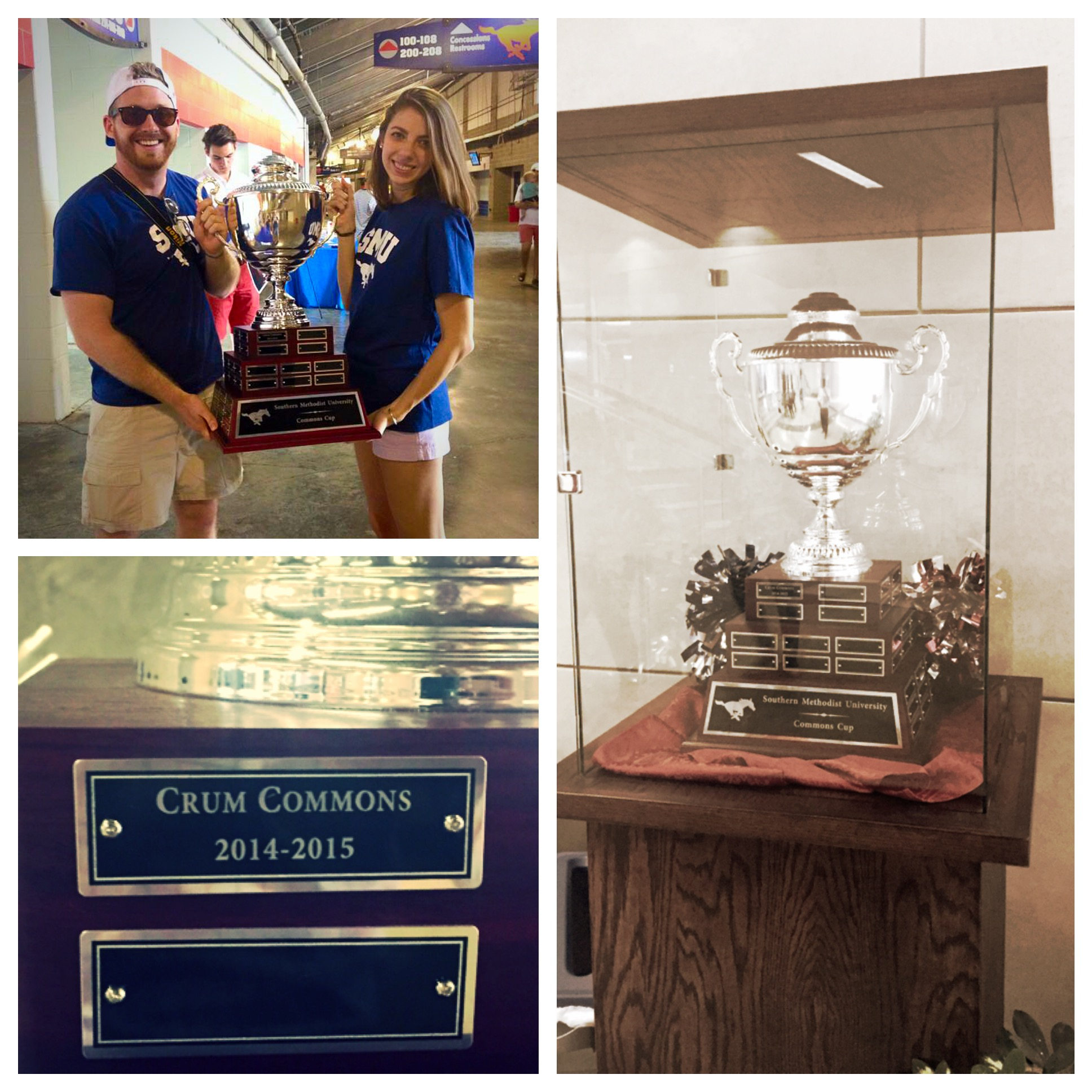 First Crum RCD Sam Gavic and 2014-15 Crum President Meaghan Binion holding trophy after presented at the SMU Spring Game