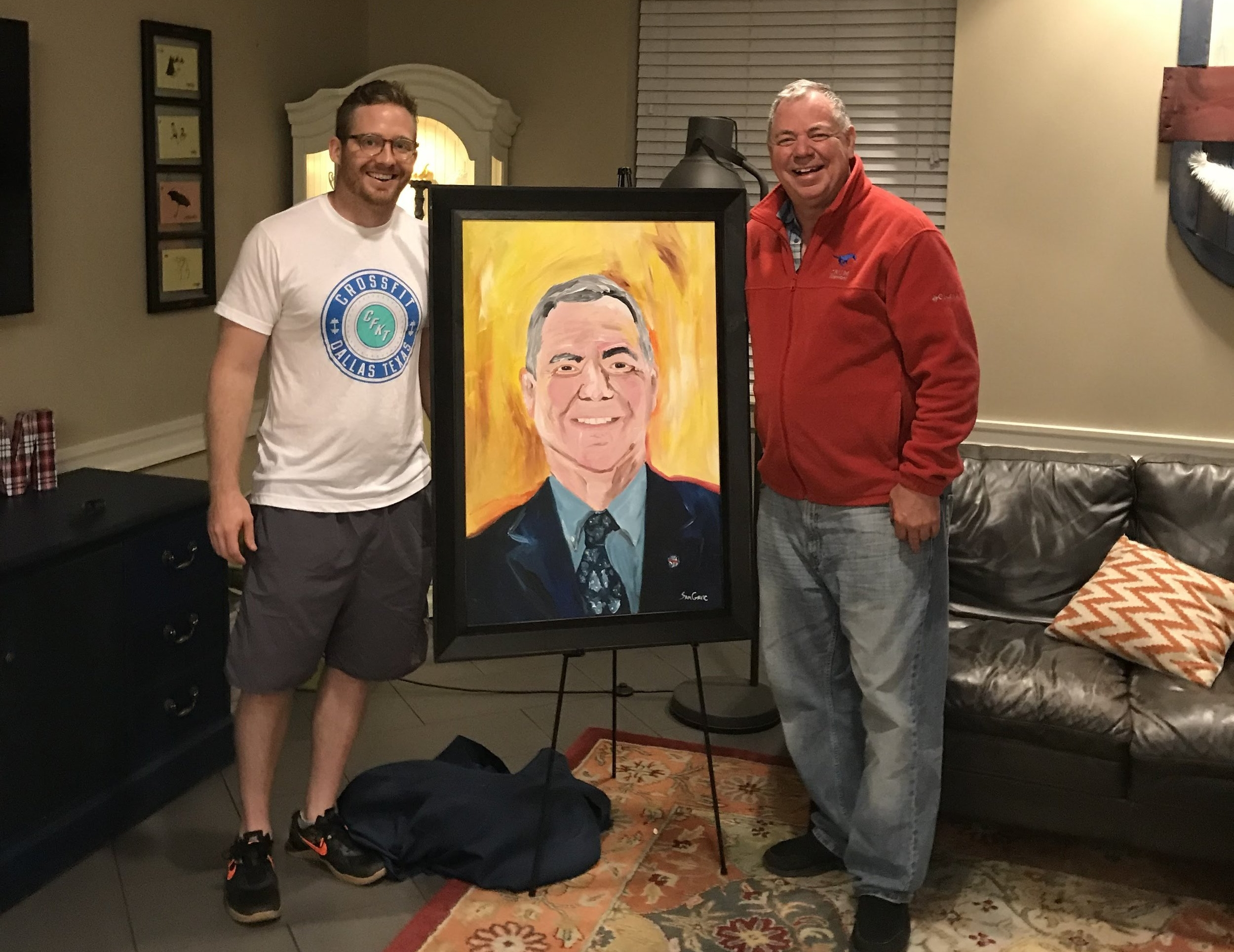 Dean Camp with artist and first RCD of Crum Commons, Sam Gavic. A Crum Tradition to have the portrait of each Faculty in Residence.