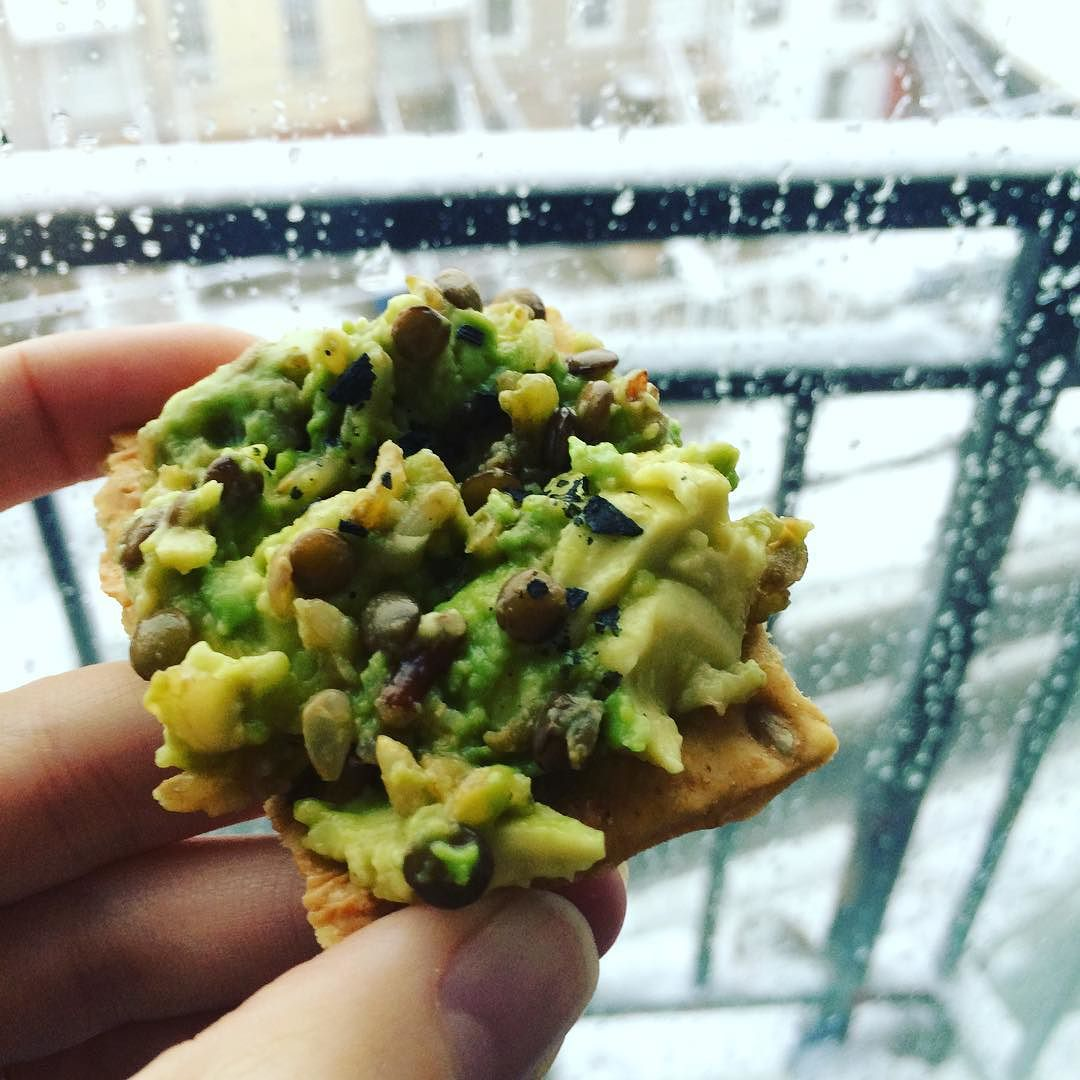 A wintry #avocadocracker: I had some leftover rice and lentil mix, so I mixed it in with #avocado and a little black Cyprus sea salt (fancy). #Lentils provide an extra #protein and #fiber benefit.   http://ift.tt/1R9xQ1t