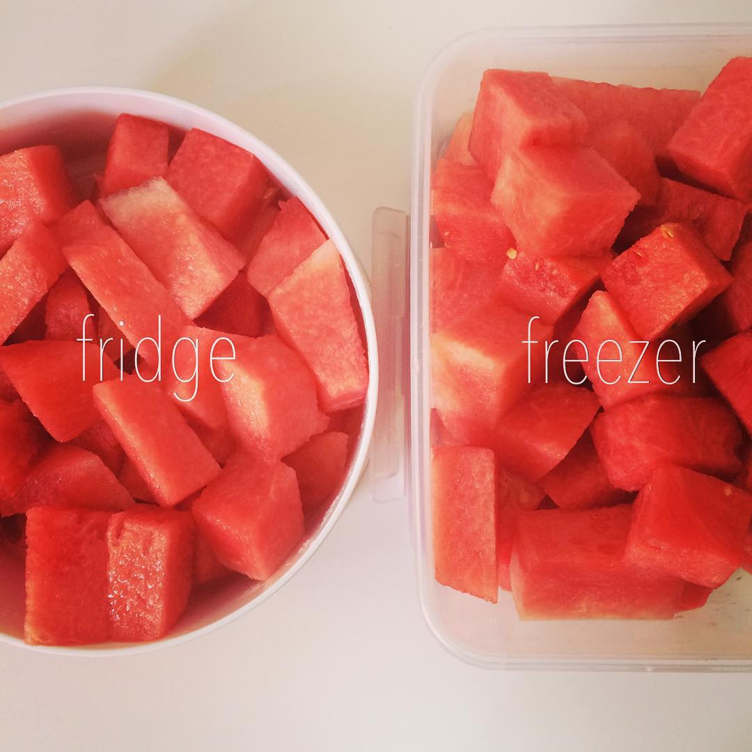 Instead of waiting for your #fresh #fruit to go bad, just 1) cut it up and leave it in the fridge for easy access as a healthy, quick #snack and/or 2) freeze for future use (#icepops, #smoothies, with #yogurt, #fruitcubes). #Yumyum #watermelon!!! #healthy  #nutrition #lazynutrition #lazynutritionist #bushwick #bushwicknutrition