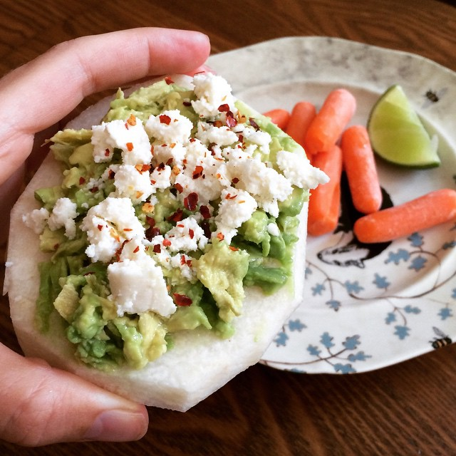 """Jicama """"Tostadas"""" :) Granted… I am a little obsessed with #jicama at the moment. BUT if you are looking for a lighter meal option, this is it! Jicama is your (light) carb, #avocado is your healthy fat, and #quesofreso is your protein. Add a little red pepper flakes and lime and you're done! Thank you @anavictoriana for the tip! ;) #jicamatostadas #tostadas #bushwick #bushwicknutrition"""