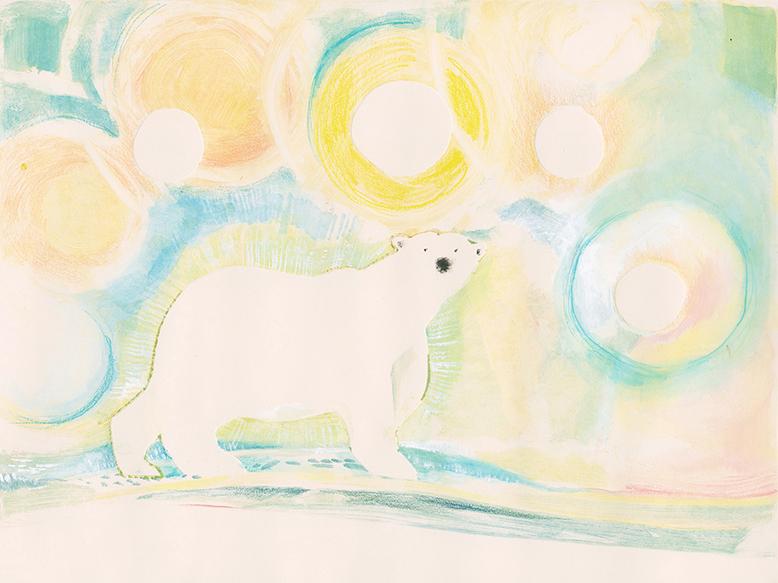 Monoprint. Polar bear and midnight sun.