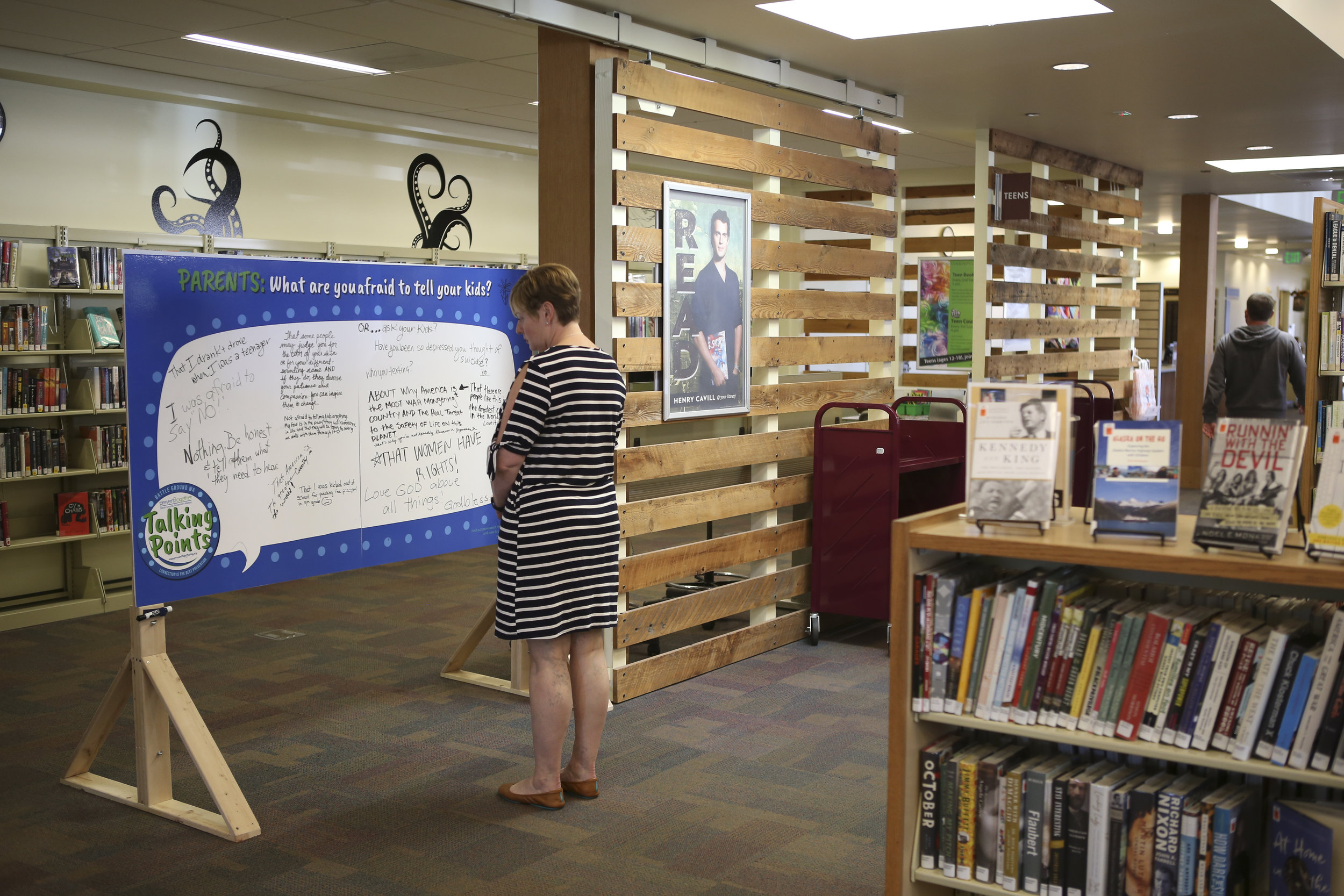 Interactive installation at the BattleGround Public Library: A conversation between parents and Kids.