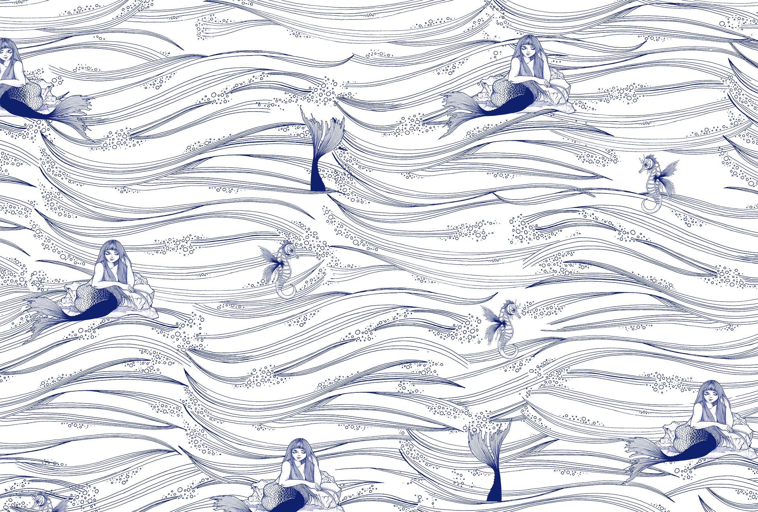 ULTRAMAR  De inspiración japonesa con un toque de humor, en Ultramar se combina un dibujo sintético y sutil con puntos de atención llenos de detalle. Es una mirada actual a las sirenas, figuras mitológicas que reinterpretamos como seductoras pero divertidas.