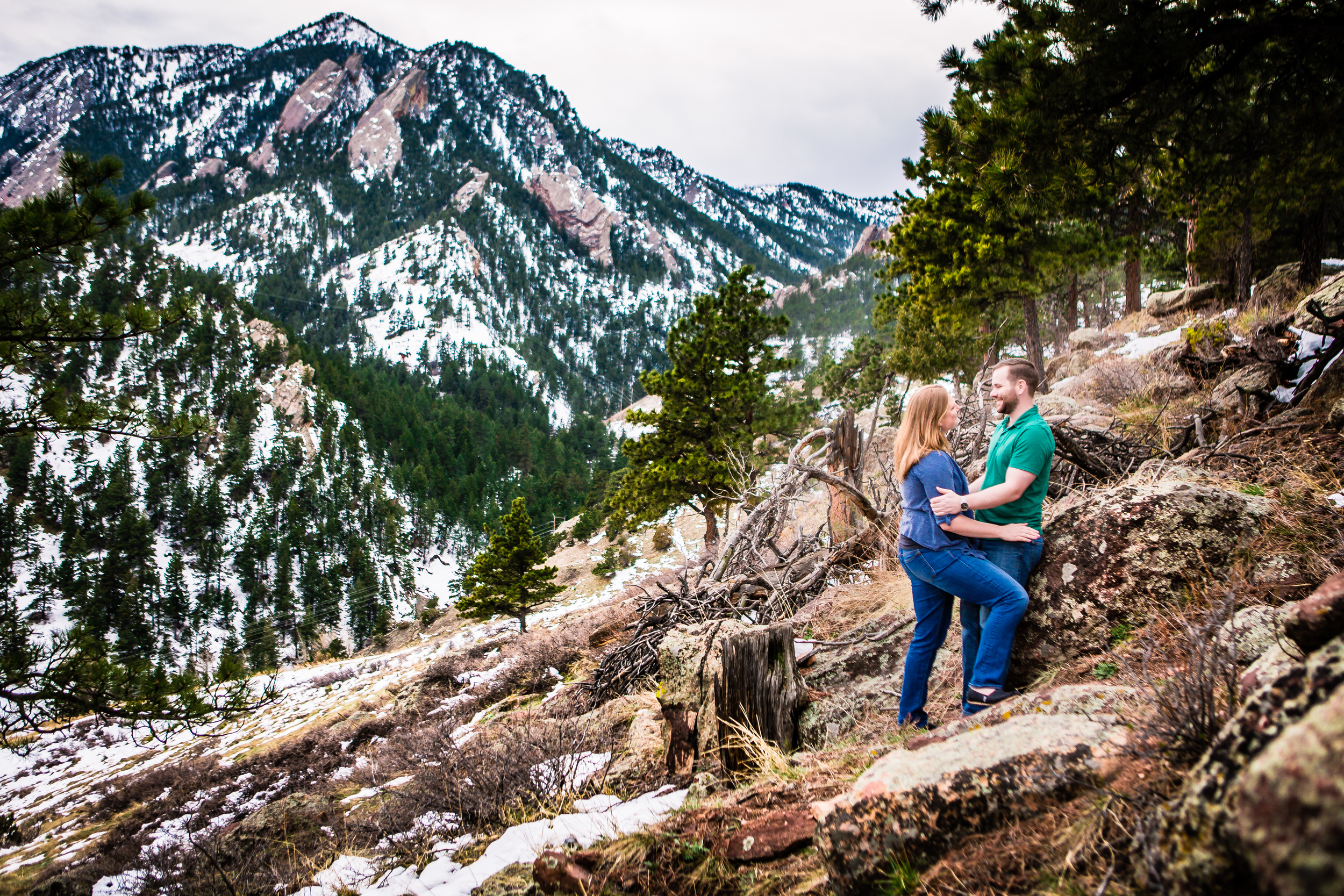 Boulder, Colorado engagements taken on the Mesa Trail.