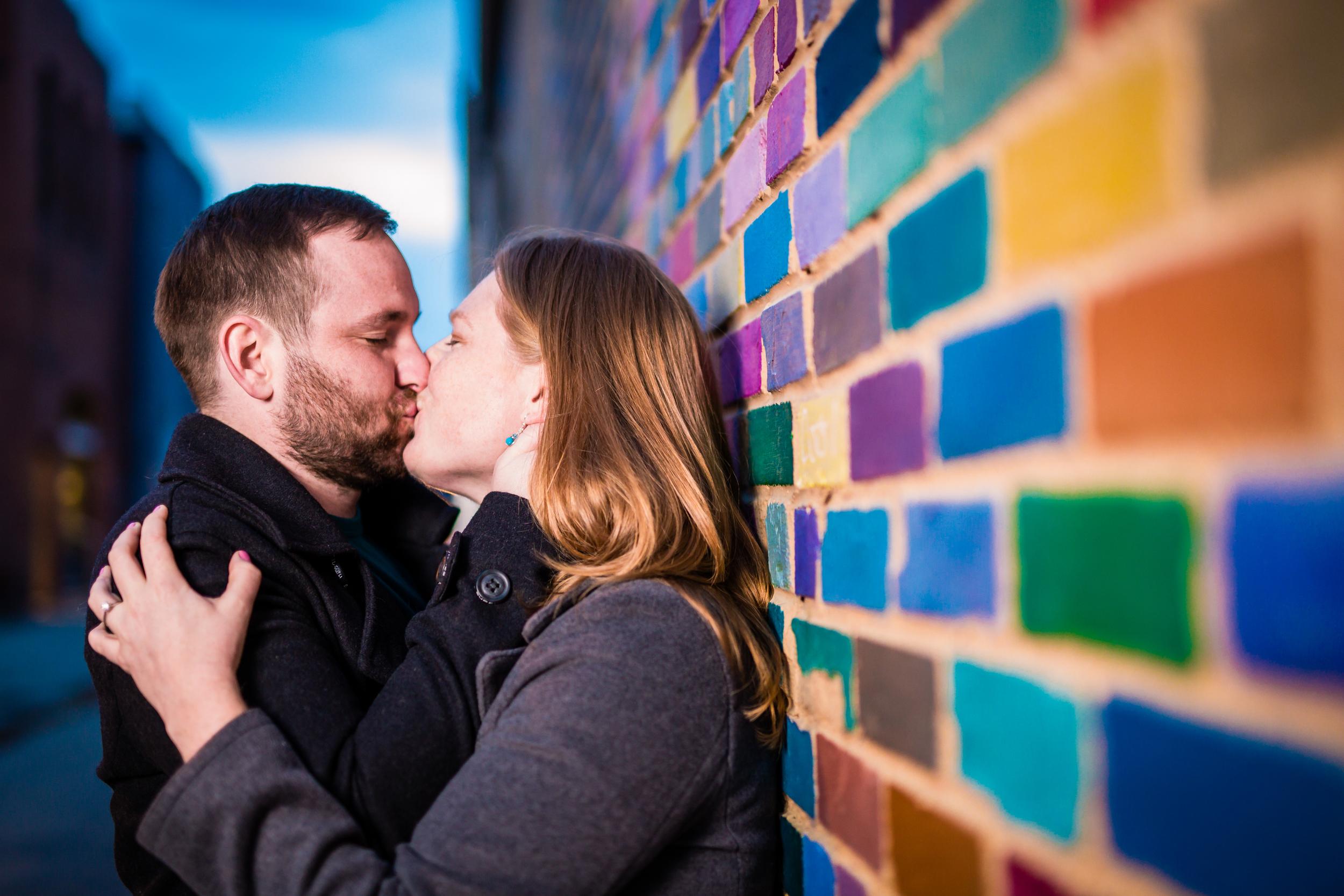 Pearl Street Engagements | Boulder Colorado | Colorful Brick Wall
